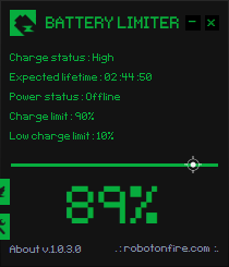 Battery limiter Screen shot